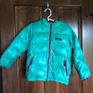 Patagonia girls hi loft down hoody sweater jacket